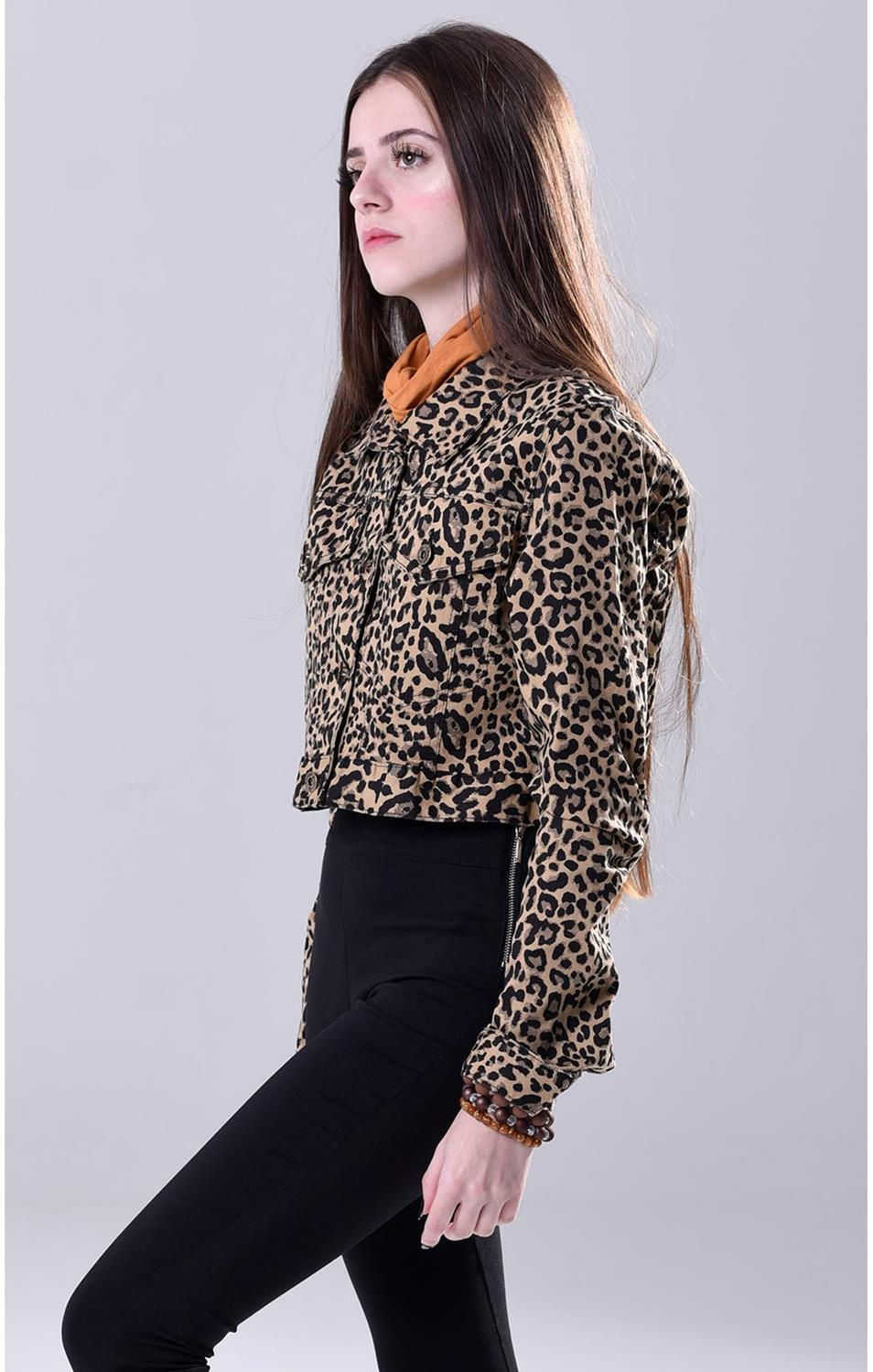 Jaqueta Cropped Animal Print Codigo Girls